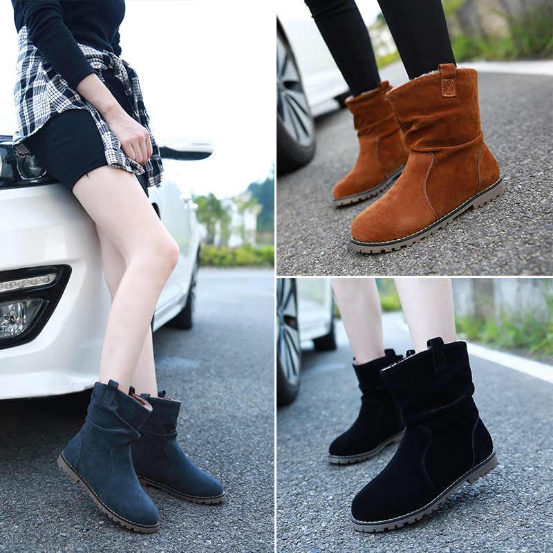 Kadın Kar Botları Sıcak Tutmak Kürk Kışlık Botlar kadın ayakkabısı Platformu Kürk Süet Kayma yarım çizmeler kadın Çizmeler Artı Boyutu 43