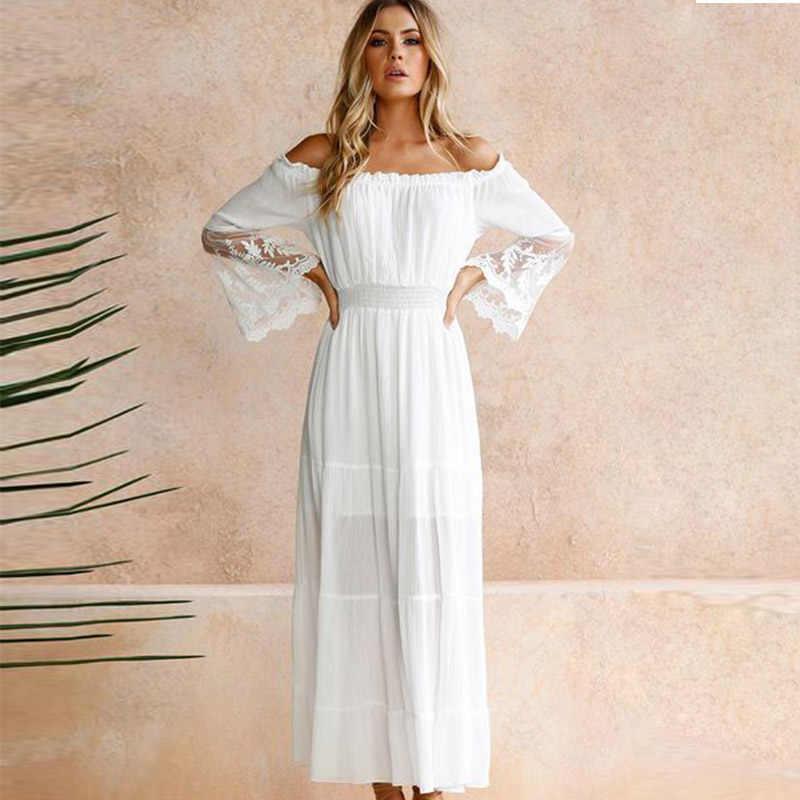 สาวปารีสฤดูร้อน Sundress ยาวผู้หญิงสีขาว Beach ชุดกระโปรงยาวแขนยาวหลวมเซ็กซี่ปิดไหล่ Boho ผ้าฝ้าย MaxiDress