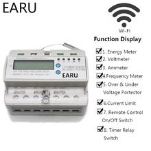 3 Phase 60A Remote Control Wifi Smart Din Rail Power Energy Meter kwh Over Under Voltage