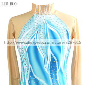 Image 3 - Figure Skating Dress Womens Girls Ice Skating Dress Blue / White Stretchy Competition Skating Wear Classic Long Sleeve Ice