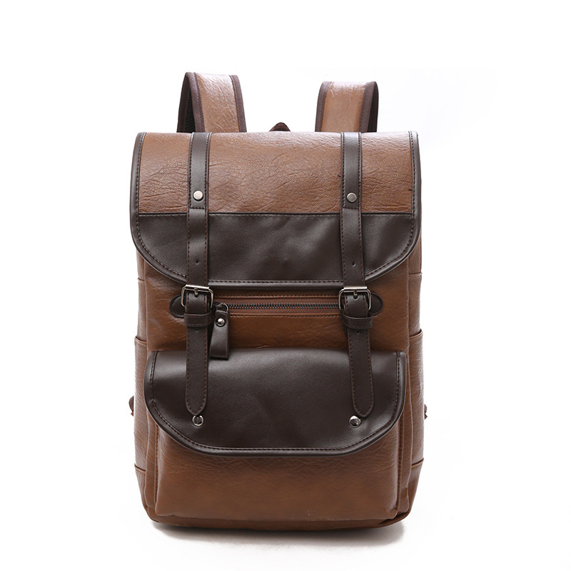 Leather Backpack Men's Vintage Laptop 15.6 Inch Bagpack Travel Waterproof Men Back Pack School Bags For Man Women Backpacks Bag