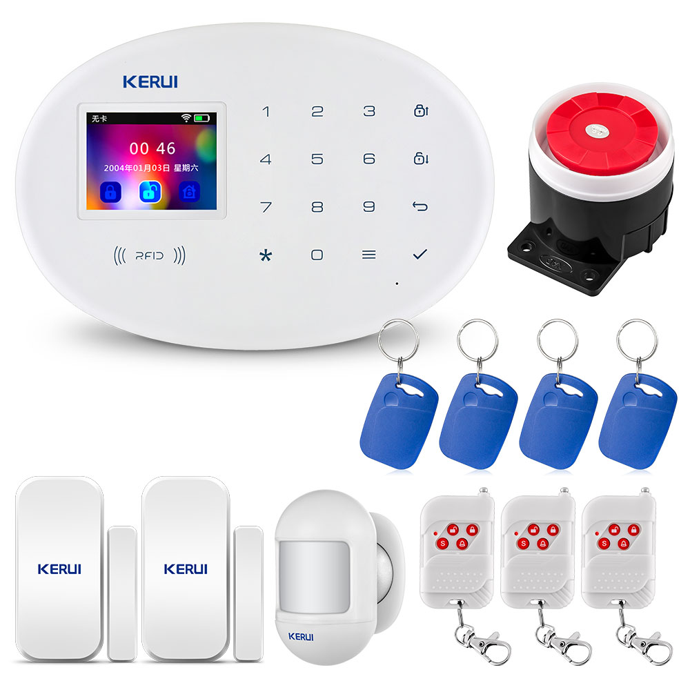 KERUI W20 2.4 Inch TFT Touch Screen Wireless Smart Home WIFI Built In GSM Security Alarm System Alarm RFID Card Anti-Theft Alarm