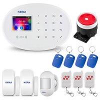 KERUI W20 2.4 polegada TFT Touch Screen Construído em GSM Sistema de Alarme de Segurança Casa Inteligente Sem Fio WI FI Cartão RFID Alarme alarme Anti Roubo|Kits de sistema de alarme| |  -