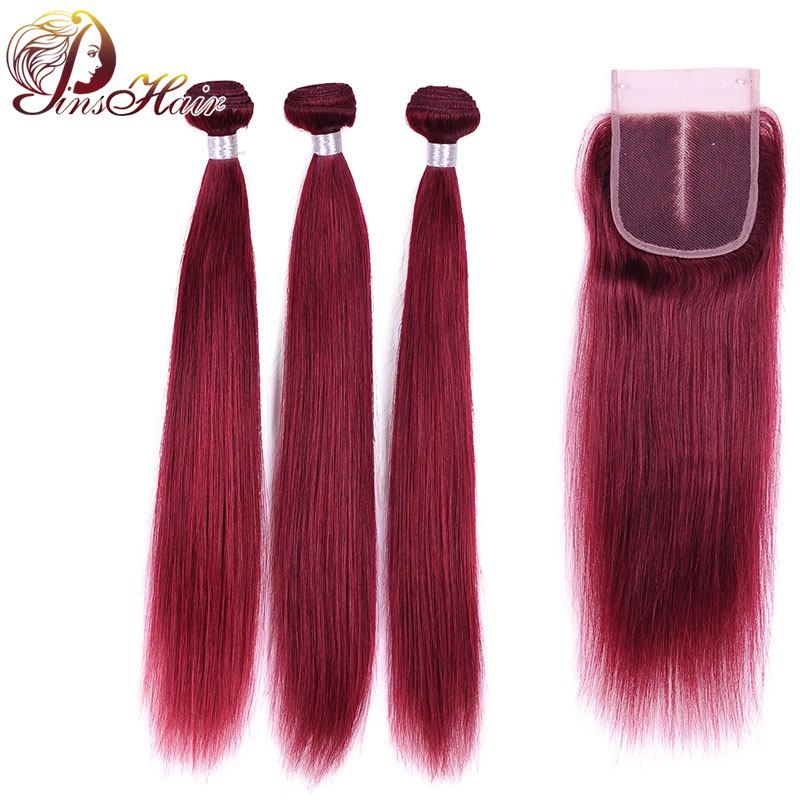 99J Colored Peruvian Human Hair Bundles With Closure Pinshair Nonremy Hair Weave Straight Bundles With Closure With Baby Hair