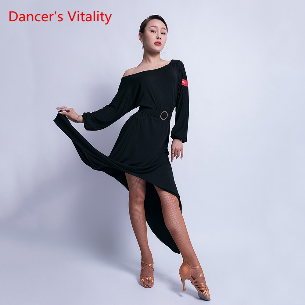 Latin Dance Skirt Female Adult Fashion Dress Performance Dance Costume New Long Sleeve Professional Practice Clothes