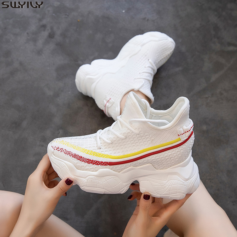 SWYIVY Knitting Wedges Shoes For Women Sneakers High Heel Breathable Casual Shoes Women 2020 Spring Mesh Sneakers Ladies Fashion