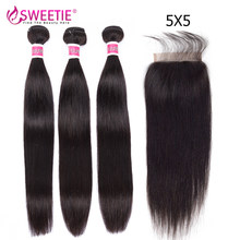 Sweetie 5X5 HD Transparent Lace Closure With Bundles 30in Brazilian Straight 3/ 4 Hair Bundles With Closure Remy 100% Human Hair