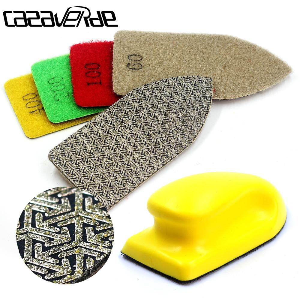 Arrow Type Diamond Hand Polishing Pad 120*55mm Foam Backed Glass Polishing Pad Stone Ceramic Tile Grinding Diamond Abrasive Pads