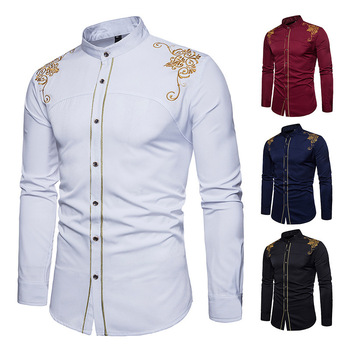 Men's Casual Blouse Stand Collar Cotton Linen Shirt Loose Tops  European American Court Embroidered Long-Sleeved Shirt selected men s 100% cotton slim fit embroidered long sleeved shirt s 419305564