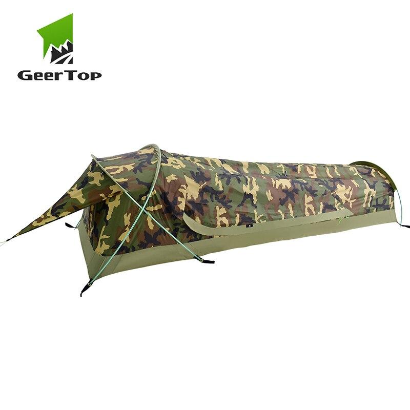 GeerTop BivyII Bivvy tente ultralégère une personne 3 saisons Camping tentes avec moustiquaire imperméable facile à installer pour randonnée touristique