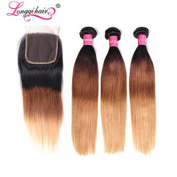 Longqi T1B/4/27 Ombre Straight Hair 3 Bundles with Lace Closure Free Part 4x4  Remy Brazilian Human Hair Extensions 16-26inch - DISCOUNT ITEM  30% OFF All Category