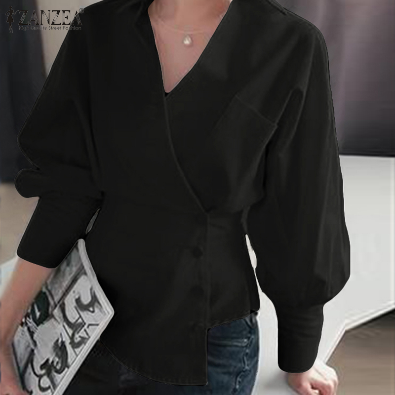 ZANZEA Spring Lace Up Tops Elegant Women V Neck Long Sleeve Office Work Blouse Casual Buttons Down White Shirt Stylish OL Blusas