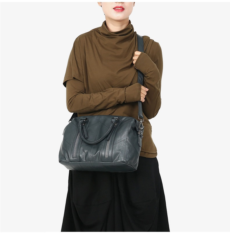 MJ Women Tote Handbag Genuine Leather Female Soft Real Cow Leather Shoulder Bags Solid Large Capacity Ladies Crossbody Bag (34)