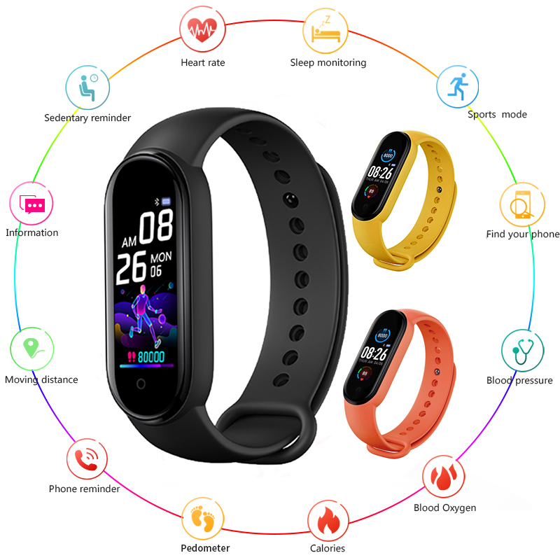 Смарт-часы M5 Band для мужчин и женщин, с пульсометром и тонометром, фитнес-трекер с Bluetooth, смарт-браслет для IOS и Android