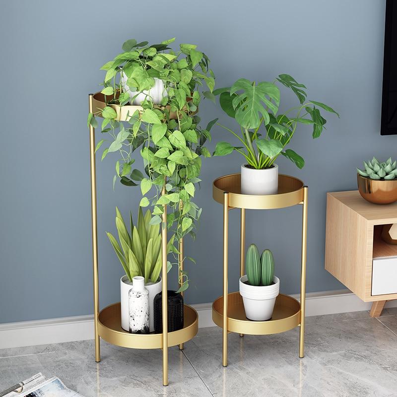 Nordic Flower Frame Living Room Ins Flower Shelf Simple Green Loll Floor Light Luxury Multi-layer Rack Indoor Pot Rack