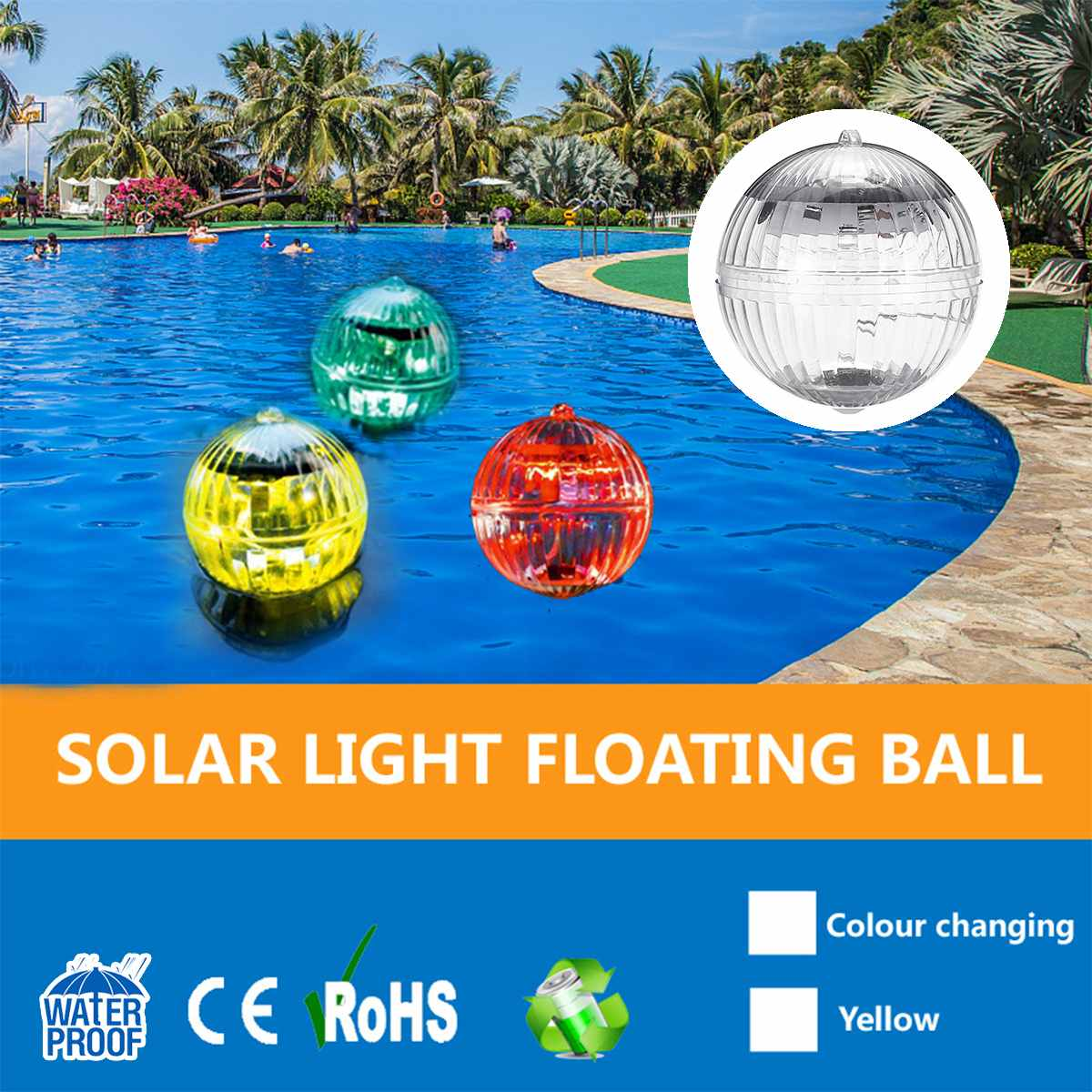 LED Solar Light Outdoor Floating Ball Color Changing Solar Panel LED Lamp Pool Light Swimming Pool Accessories New Arrival 2019