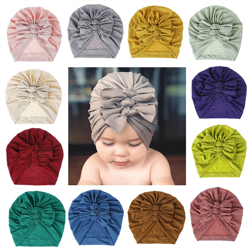 Baby Hat Turban Girls Infant Newborn Baby Headband Bow Toddler Baby Headband Cotton Bow Knot Headwear Hair Accessories Fashion