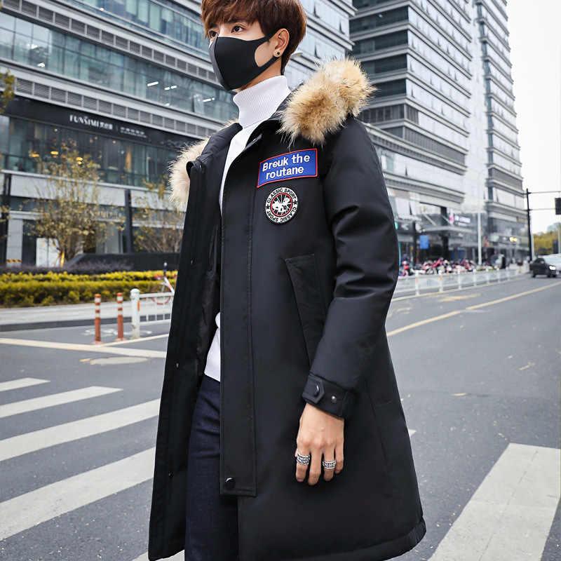 2019 nueva chaqueta de plumón de pato de invierno para hombre a la moda con capucha abrigo de retazos impermeable de piel con capucha abrigo grueso