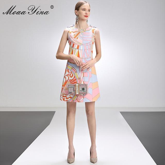 MoaaYina Fashion Designer Dress Summer Women's dress Sleeveless Beaded Geometry Print Short Dresses 5