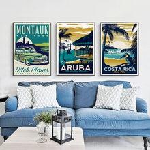 Vintage poster minimalist art canvas painting hawaii  marthas