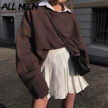 ALLNeon Indie Aesthetics Oversized Crewneck Long Sleeve Sweatshirts E-girl Vintage 90s Streetwear Letter Print Brown Tops Autumn