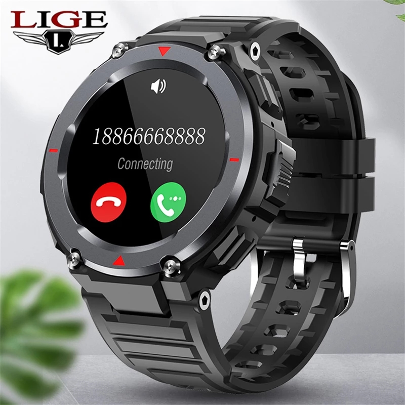 LIGE New Sports Smart Watch Men Bluetooth Call Music Playback Heart Rate Monitor Waterproof Men Smartwatch 2021 For Android IOS