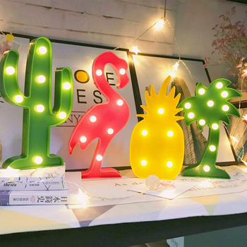 LED Flamingo Night Light Christmas Rree Decoration Lamp Pineapple 3D Table Lamp Cactus Night Lights for Kids Christmas Gifts hot sale wrought iron flamingo star tree wooden base night light creative led dream night table lamp bedroom gifts for girls