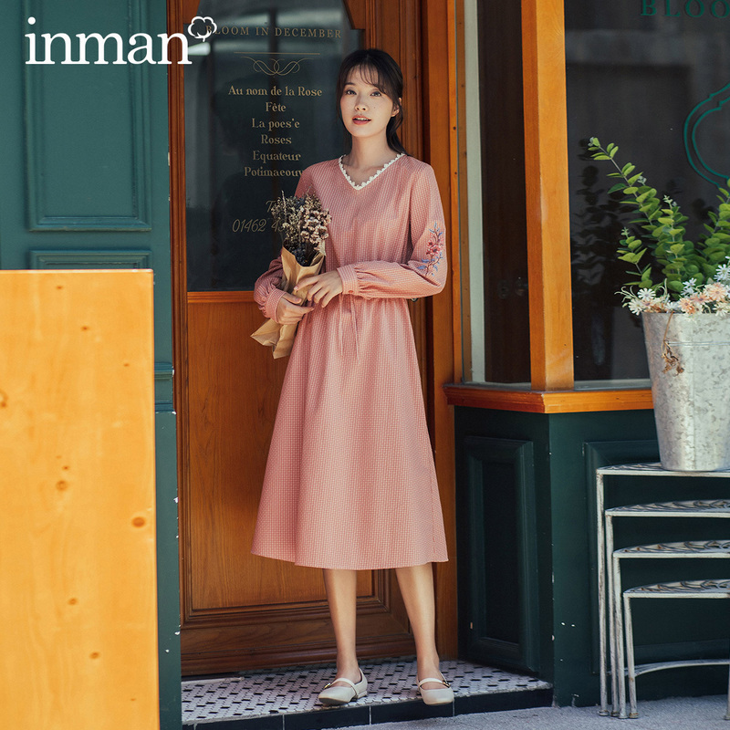 INMAN 2020 Autumn Winter New Arrival Sleeve Shoulder Embroidery Jacqueline Sweet Lady Women A Line Dress