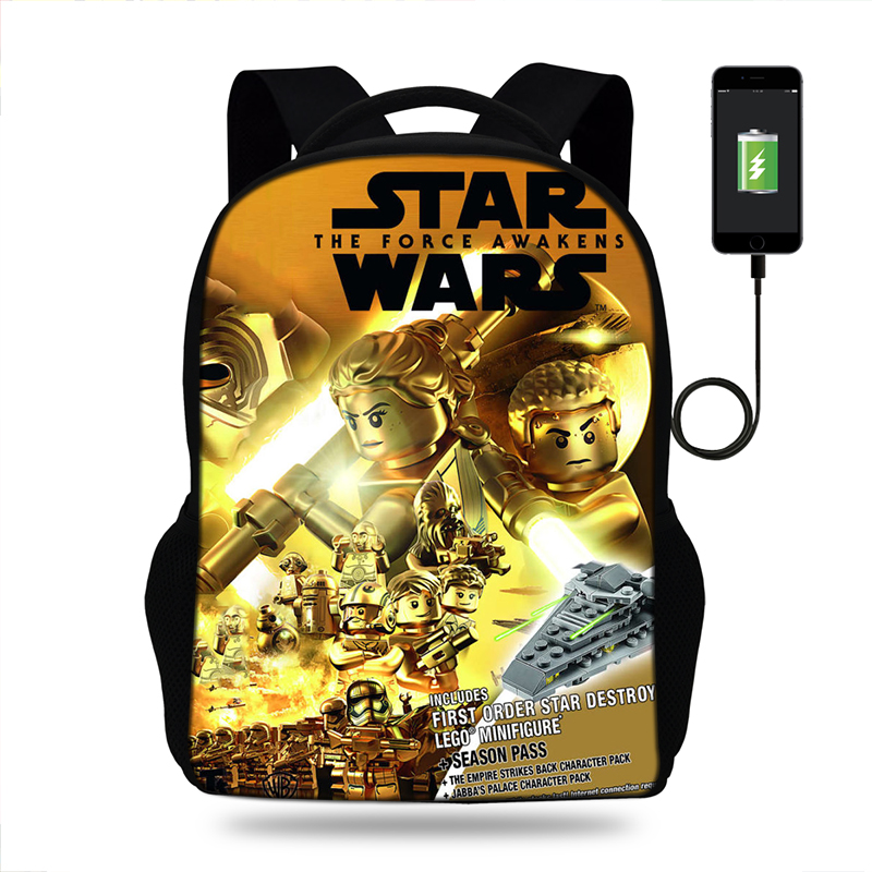 17inch legok star wars Print Backpack Mens USB Charge Rucksack For Teenager Boys&Girls School Bags Laptop Daily Backpacks image