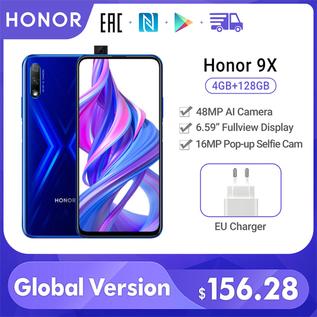 Special Version Honor 9X Smartphone 4G 128G 48MP Dual Cam 6.59'' Mobile Phone Android 9 4000mAh OTA Google Play cellphone