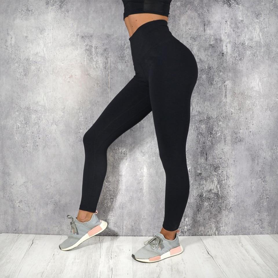 GECKATTE Black Sport Leggings For Fitness Women High Waist Push Up Elastic Gym Legging Spandex Plus Size Workout Legging Pants