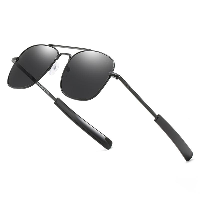 Óculos de sol tipo aviador, óculos de sol AO da moda, masculino, de marca de luxo, design tipo aviador militar do exército americano, lentes de vidro óptico|Óculos de sol|   -