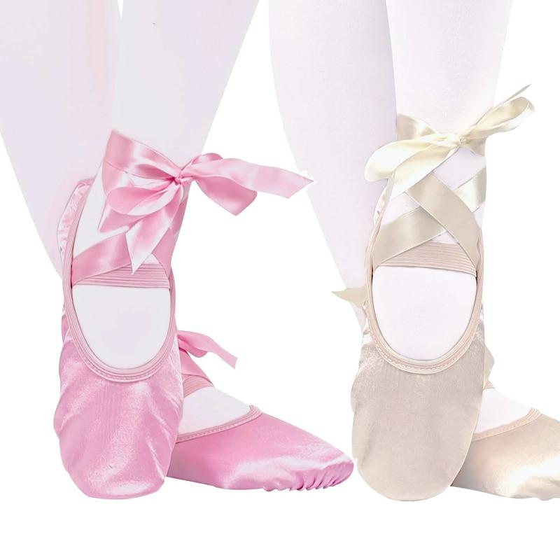 Танцевальная шелковая обувь для балета, пуанты с лентой для детей, для девочек, женская мягкая обувь на плоской подошве, удобные тапочки для ...