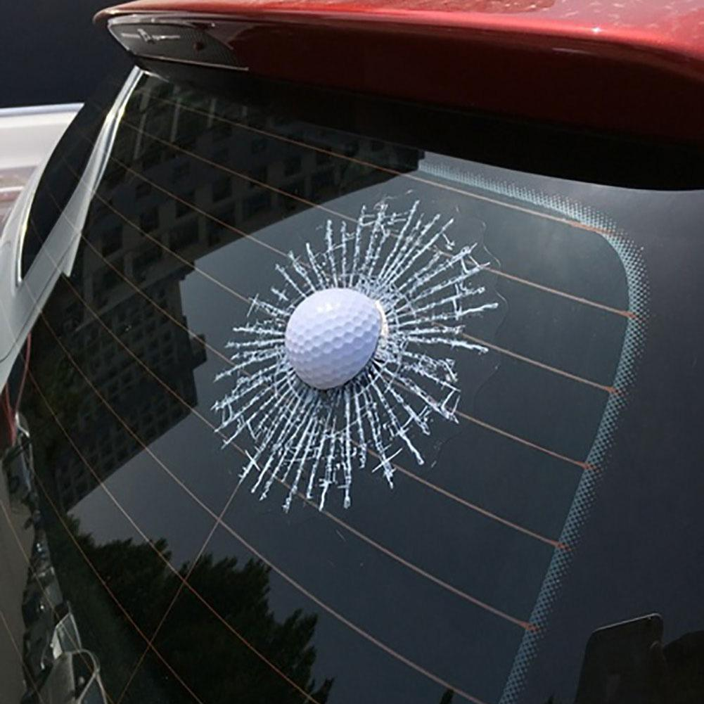 Funny 3D Golf Ball Hit Window Crack Car Windshield Decals Sticker Decoration Car Exterior Accessories Boutique 2019 hot sale