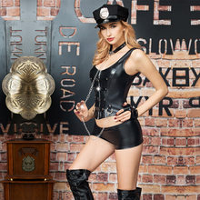 Black Patent Leather Sexy Underwear Lingerie Uniform Women Sexy Costumes(China)