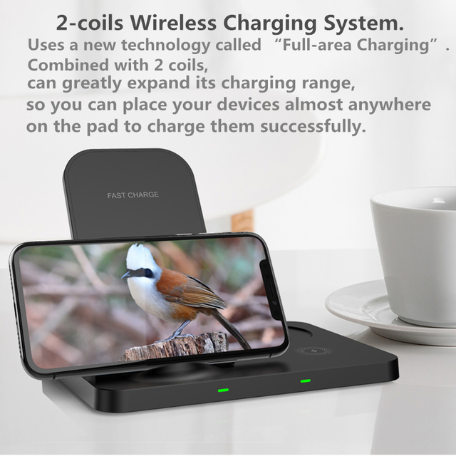 Aikulli 3 in 1 Wireless Charger Stand 15W Fast Charging for iPhone 12 11 8 X XS XR for Apple Watch 6 5 4 3 AirPods 2 Pro Charger
