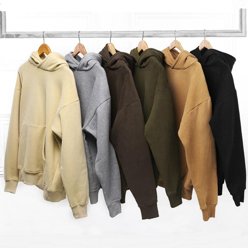 Men Hip Hop Relaxed Fleece Warm Hoodies Kanye West Solid Color Raglan Everyday Pullovers