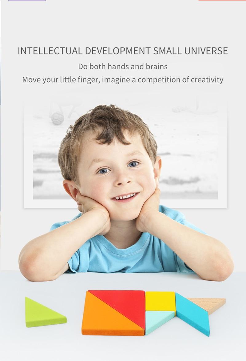 Crianças 3d quebra-cabeça tangram de madeira jogo