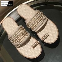 Summer New Slippers Women Flat Flip Flops Brand Pearls Metal Chain Open Toe Slide Slip On Soft Shoes Genuine Leather Slippers