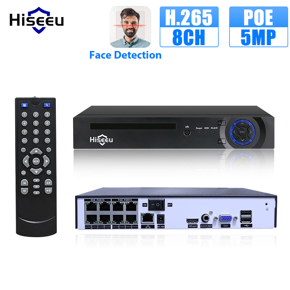 Hiseeu H.265 4/8CH POE NVR Security IP Camera Video Surveillance CCTV System P2P ONVIF 5MP2MP Network Video Recorder Face Detect