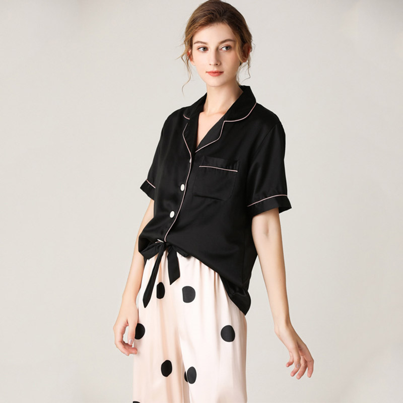 de seda feminino pijamas casa terno loungewear pjs