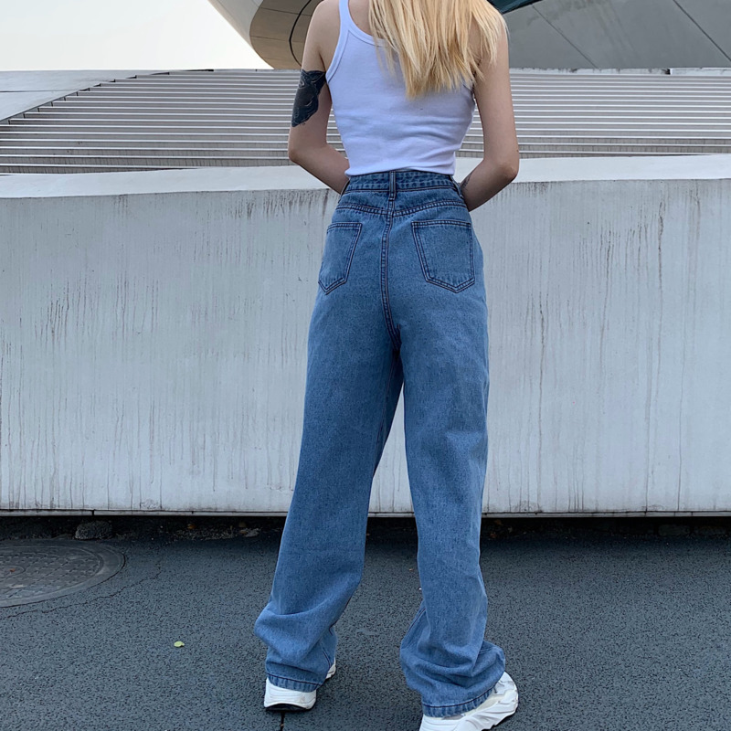 SHENGPALAE 2020 New Summer Vintage Jeans Woman Long Trousers Cowboy Female Loose Streetwear Butterfly Print Pants ZA4110 5