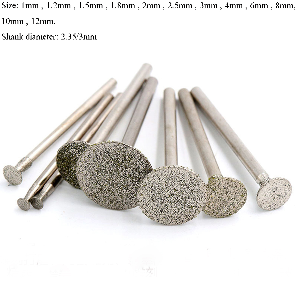 30pcs Ball Head Diamond Grinding Bits 3mm Round Grinder for Power Engraving