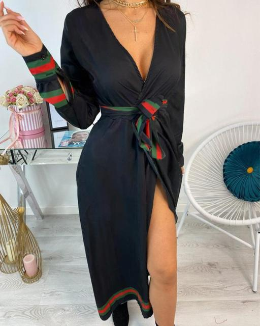 2021 Sexy Women Deep V-neck Shirt Dress Spring Autumn Long Sleeve Chain Print Mid-calf Dresses Laides Lace Up Party Dresses 1