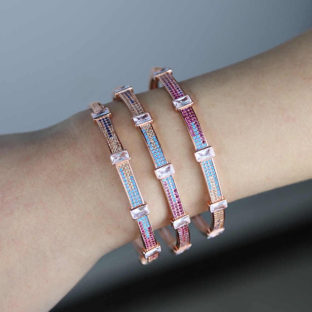 2019 estate nuovo in oro rosa di colore blu rosso bianco baguette cubic zirconia del polsino del braccialetto del braccialetto per le donne gioielli di moda di lusso