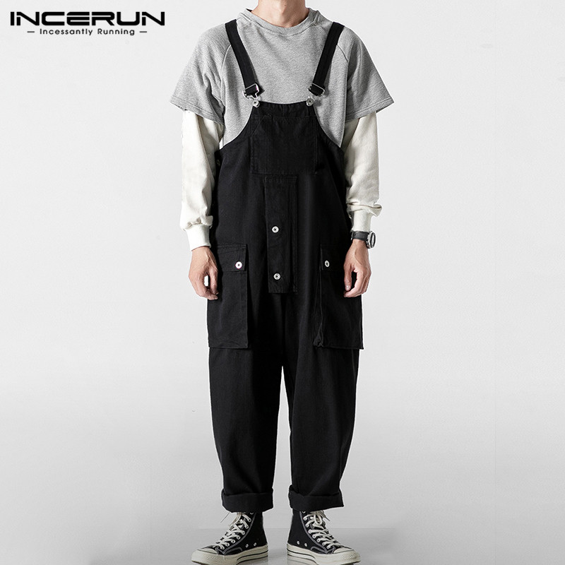 Fashion Men Romper Jumpsuit Casual Solid Joggers Bib Pants Streetwear Loose Men Suspenders Overalls Harajuku 2020 S-5XL INCERUN