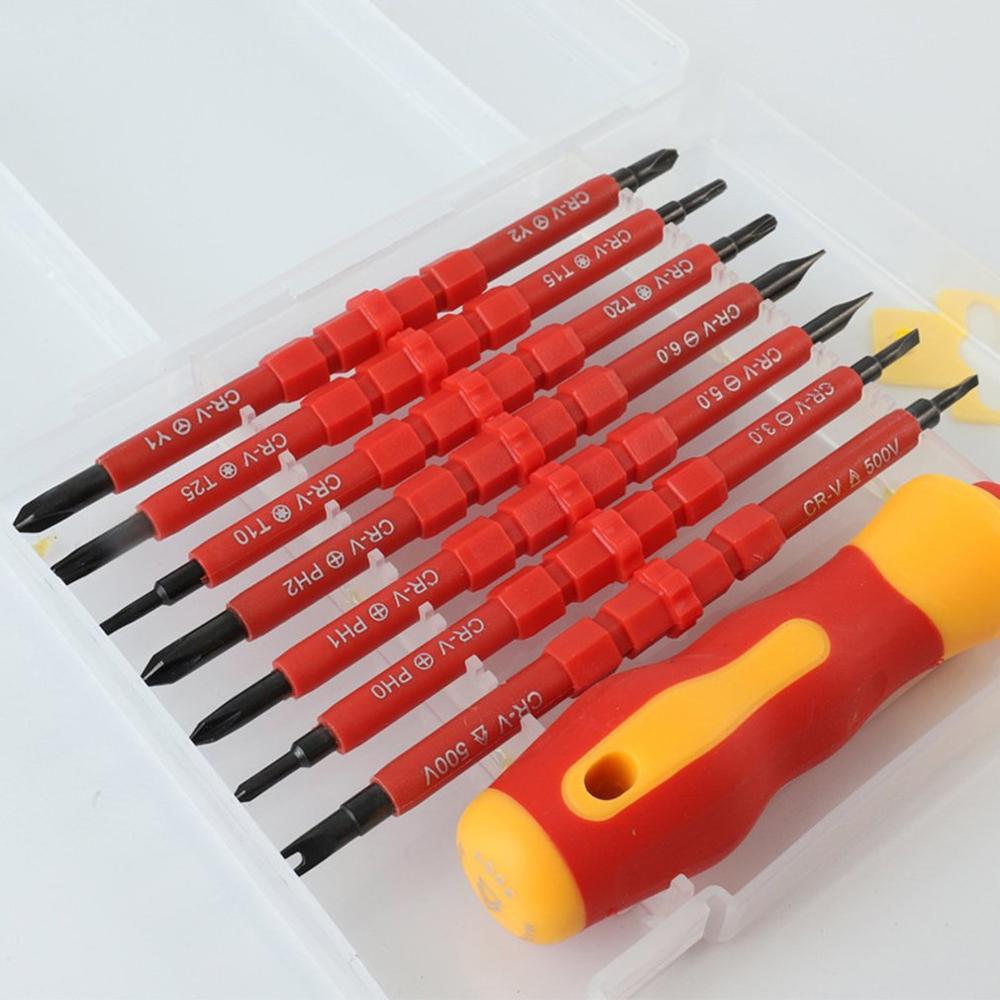 8PCS Multi-purpose Screwdriver Bit Set For Electrical Insulated Kit Household Repairing Maintenance Tools