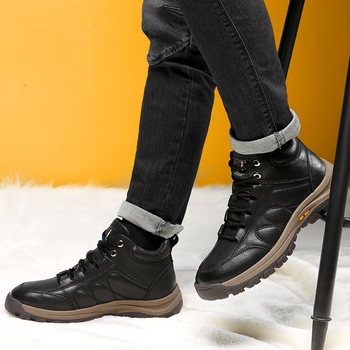 Misalwa Men Adult Warm Snow Boots Soft Bottom Wool Winter Short Boots Outside Casual Leather