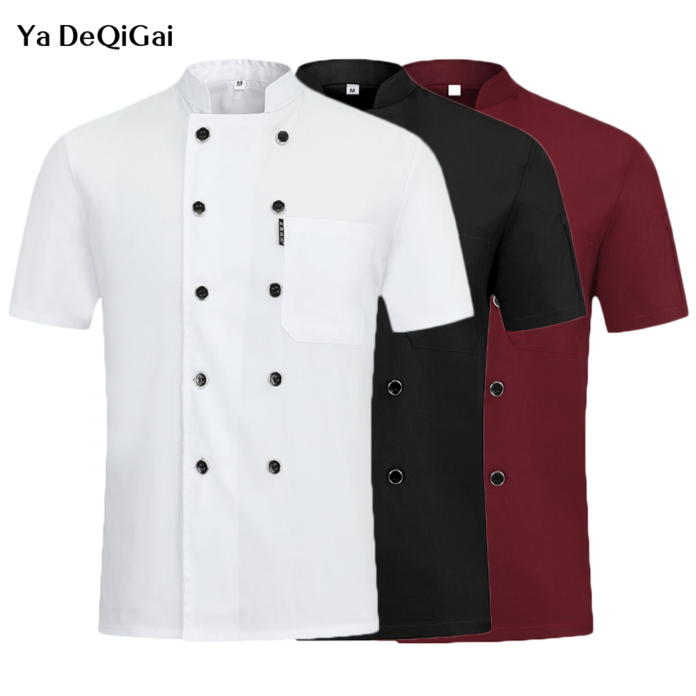 Unisex Short Sleeve Chef Uniform Breathable Double Breasted Kitchen Cooking Jacket Canteen Catering Waiter Working Jacket Summer