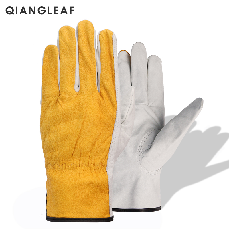 QIANGLEAF New Work Gloves Cowhide Welding Gloves Safety Protective Garden Sports Wear-resisting Leather Men Working Gloves YP56